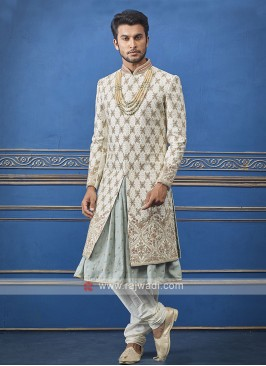 Designer cream and pista sherwani