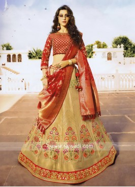 Designer Cream and Red Lehenga Choli