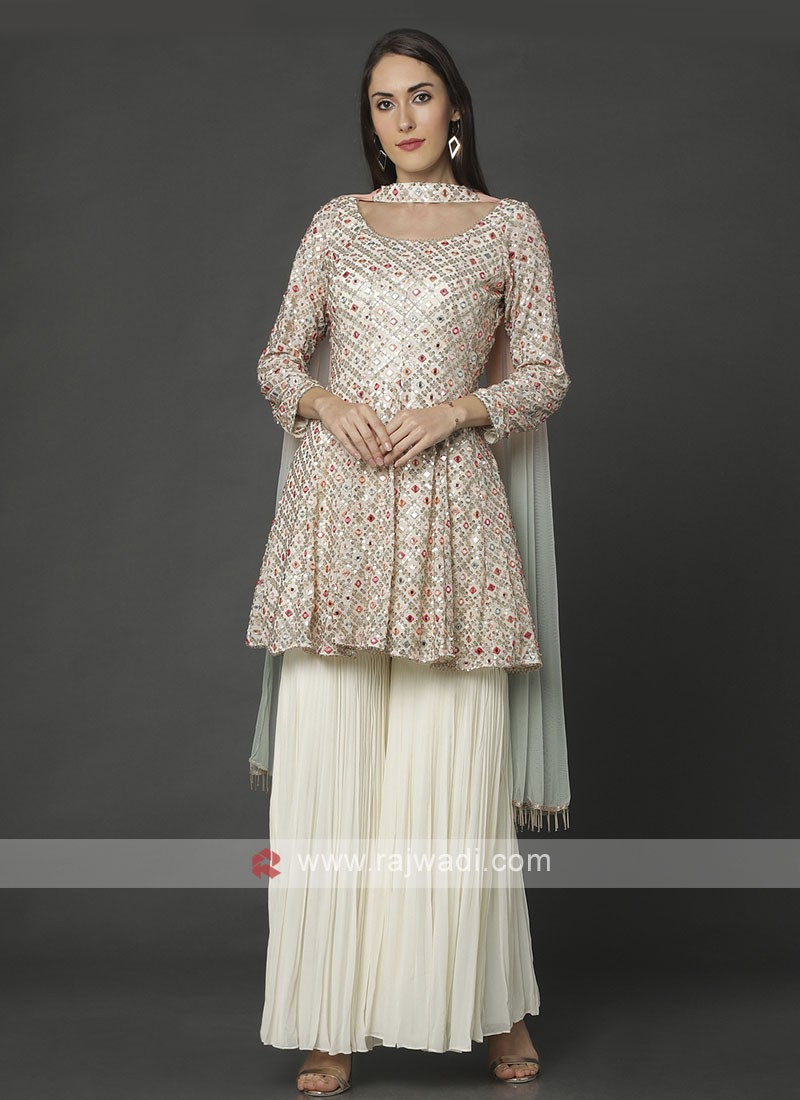 Designer Cream Color Gharara Suit