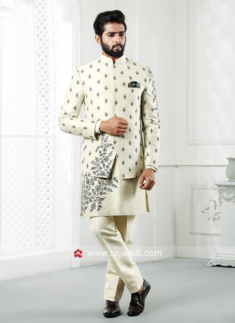 Designer Cream Color Indo Western