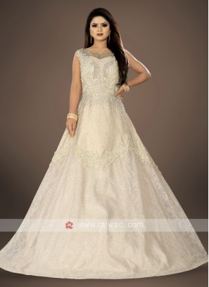 designer cream color net gown