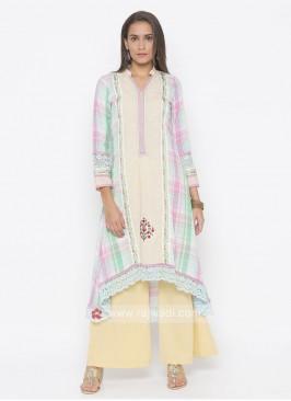 Designer Cream Colour Palazzo Suit