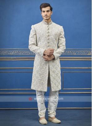 Designer Cream Colour Indo-western