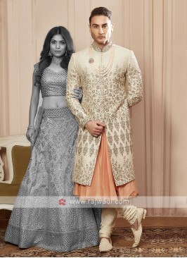 designer cream colour sherwani