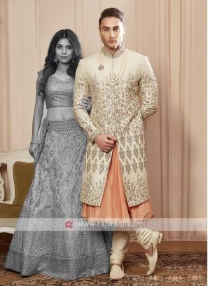 designer cream colour sherwani