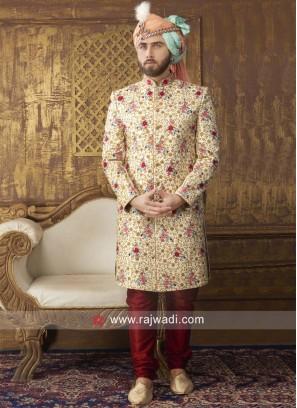 Designer Cream Resham Work Sherwani