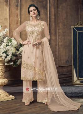 Designer Cream Semi Stitched Salawar Suit