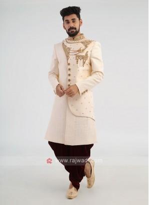 Designer Cream Silk Sherwani For Wedding