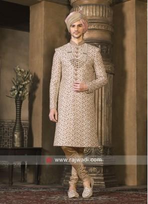 Designer Cream Zardozi Work Sherwani