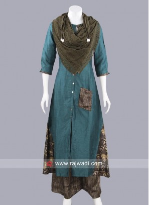 Designer Crepe Silk Palazzo Suit with Stole