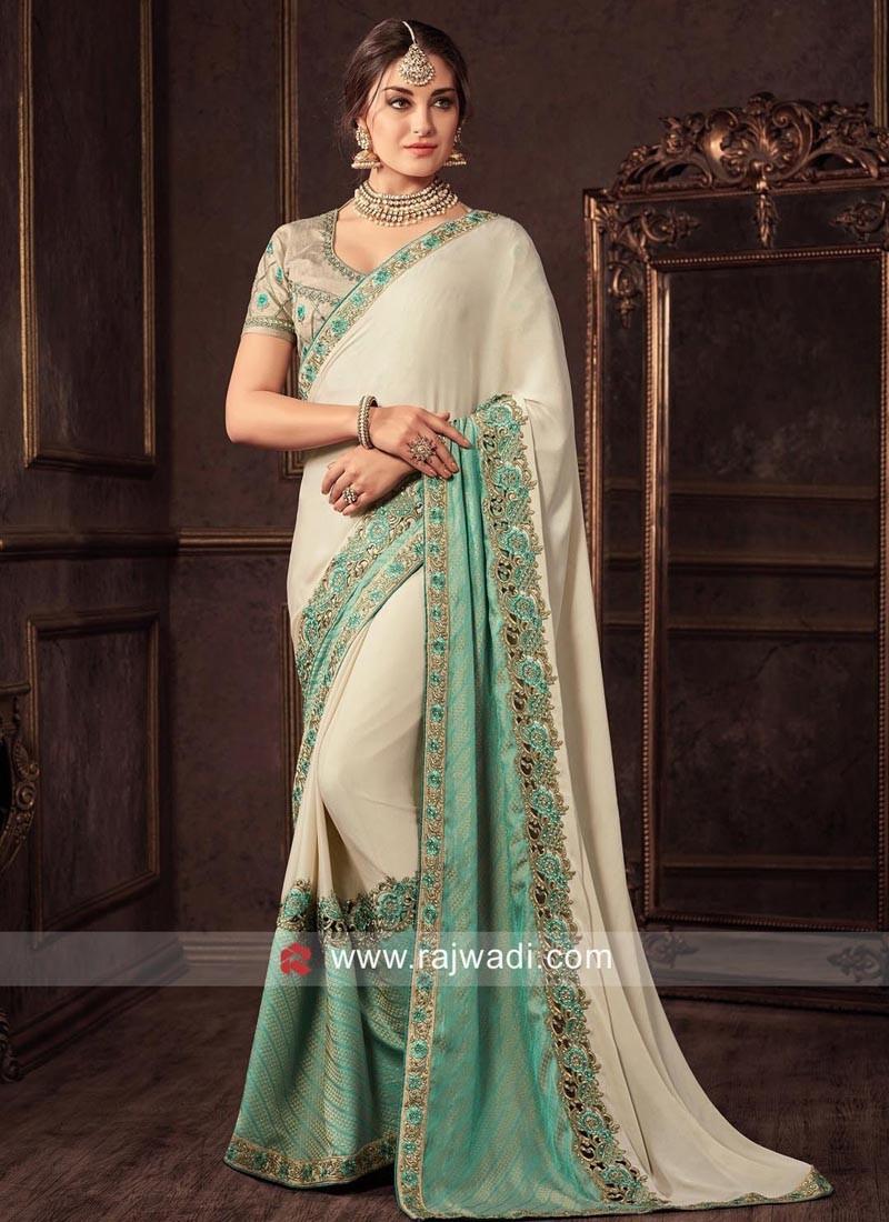 Designer Cut Work Sari with Blouse
