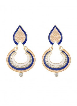 Designer Dark Blue and Golden Dangler Earring