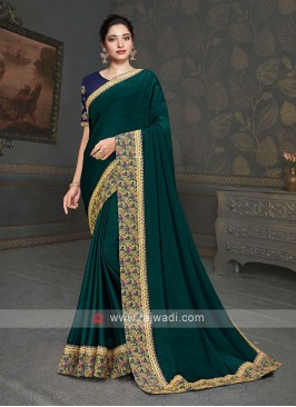 Designer Dark Green Color Saree