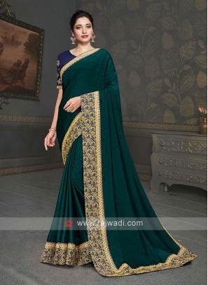 Designer Dark Green Color Saree