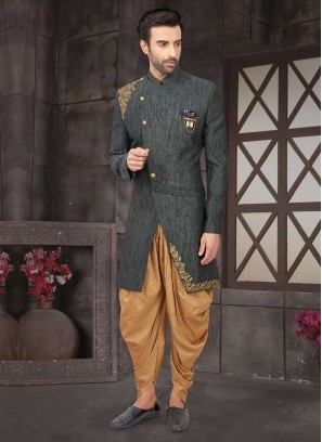 Designer Dark Grey Art Silk Indo-Western