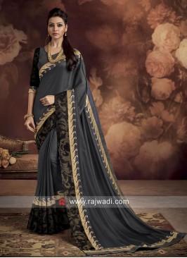 Designer Dark Grey Butter Silk Saree