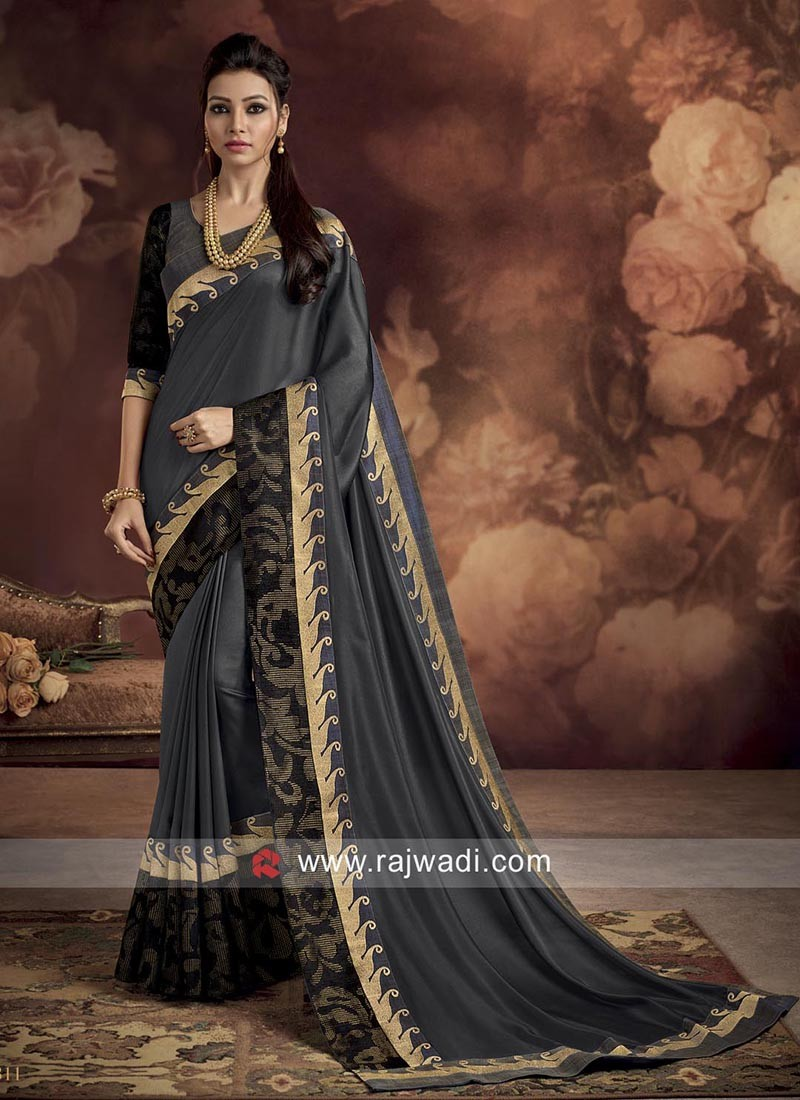 Designer Dark Grey Butter Silk Saree