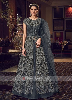 Designer dark grey color salwar suit