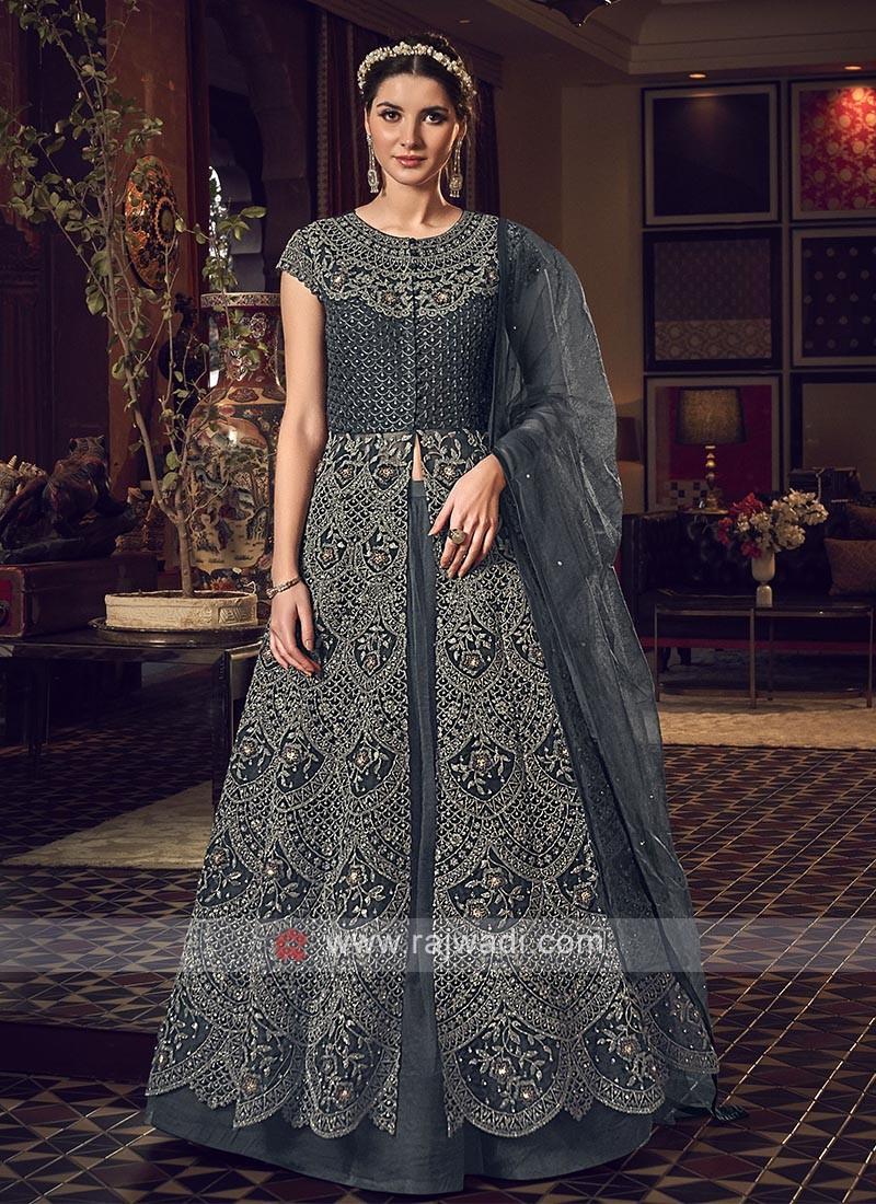 Designer dark grey color salwar suit
