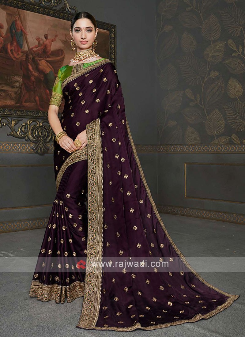 Designer Dark Magenta Color Saree