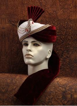 Designer Dulha Turban In Velvet And Silk