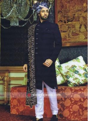 Designer Emboss Indo Western With Velvet Stole
