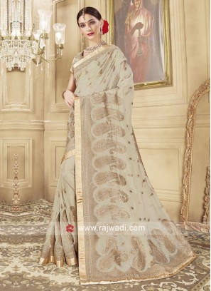 Designer Embroidered Glass Tissue Saree