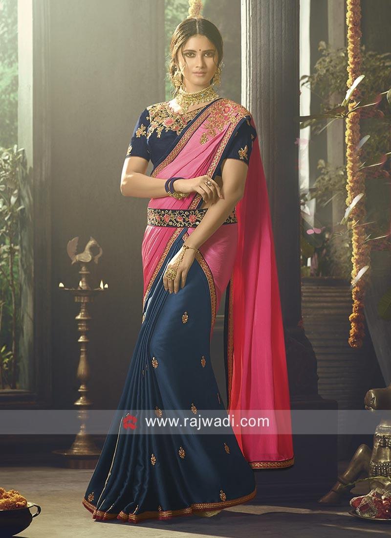Designer Embroidered Half Saree with Belt