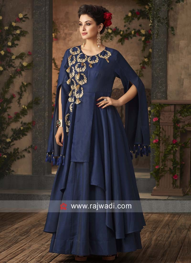 Designer Embroidered  Navy Gown