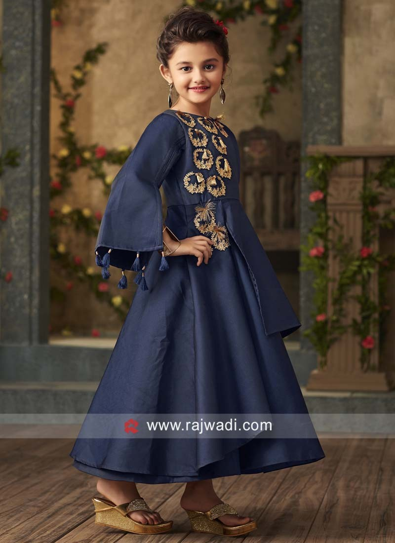 Designer Embroidered Navy Gown for Girls