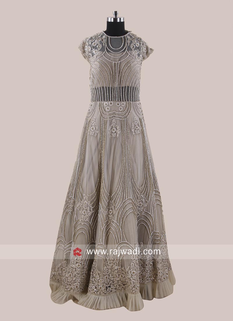 Designer Embroidered Net Gown