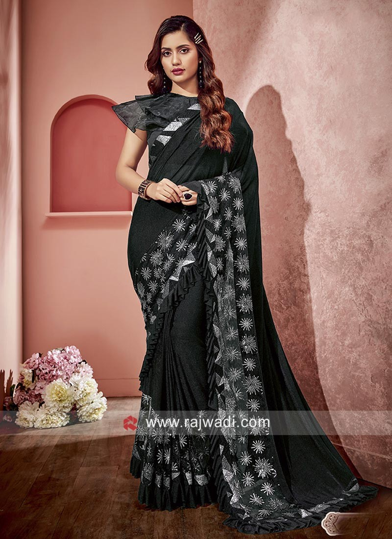 Designer Embroidered Saree in Black