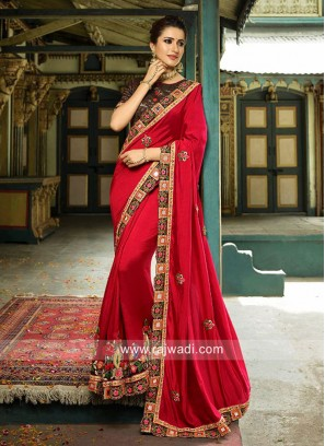 Designer Embroidered Saree with Blouse