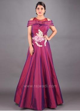 Designer Floor Length Cold Shoulder Gown in Magenta