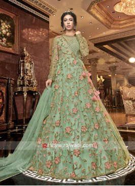 Designer Floor Length Floral Work Suit