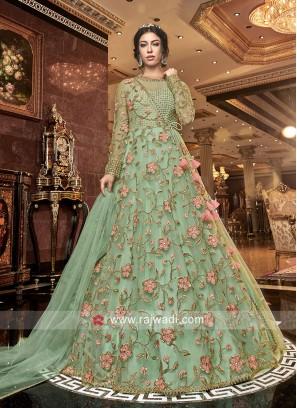 Designer Floor Length Floral Work Suit