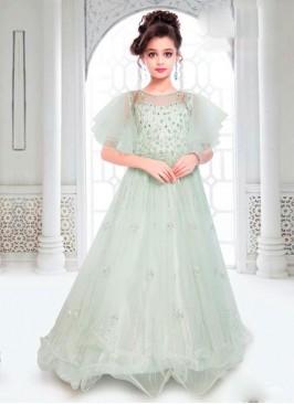 Designer Floor Length Kids Gown In Pista Green