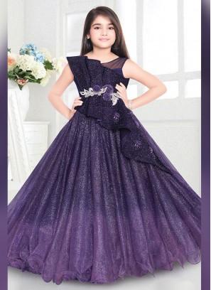 Designer Floor Length Kids Gown In Shaded Purple Color