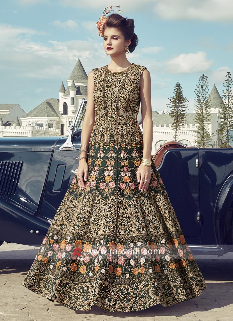 Designer Flower Embroidered Anarkali Suit