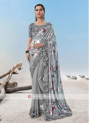 Designer Flower Work Saree