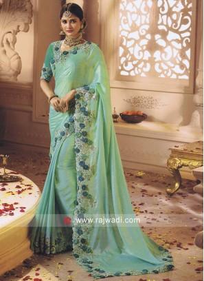 Designer Flower Work Sea Green Sari