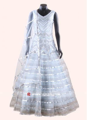 Designer Full Length Net Gown with Dupatta