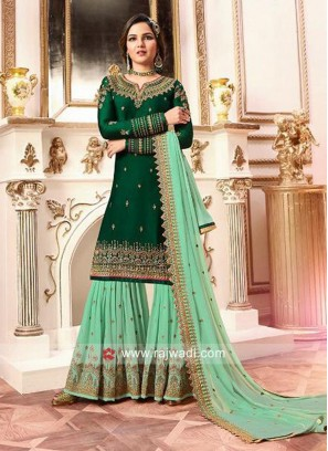 Designer Gharara Suit in Green