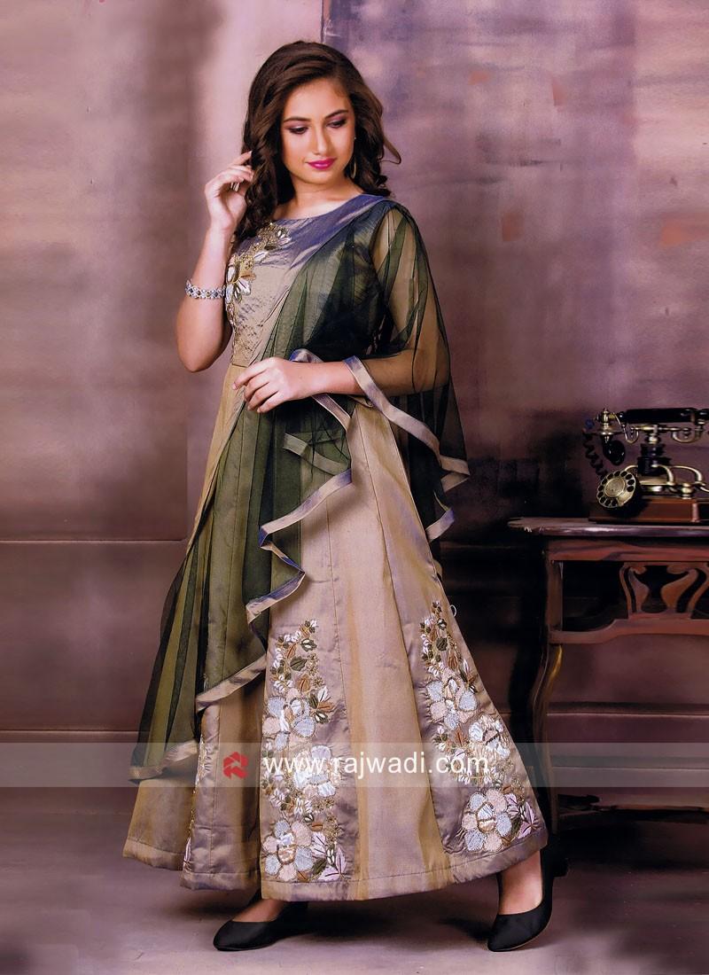 Designer Girls Anarakli Gown with Dupatta