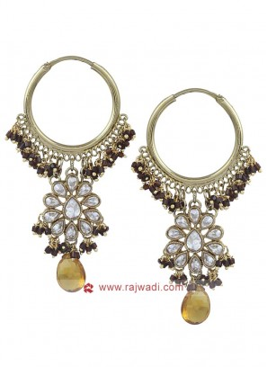Designer Gold Toned Hoop Earrings