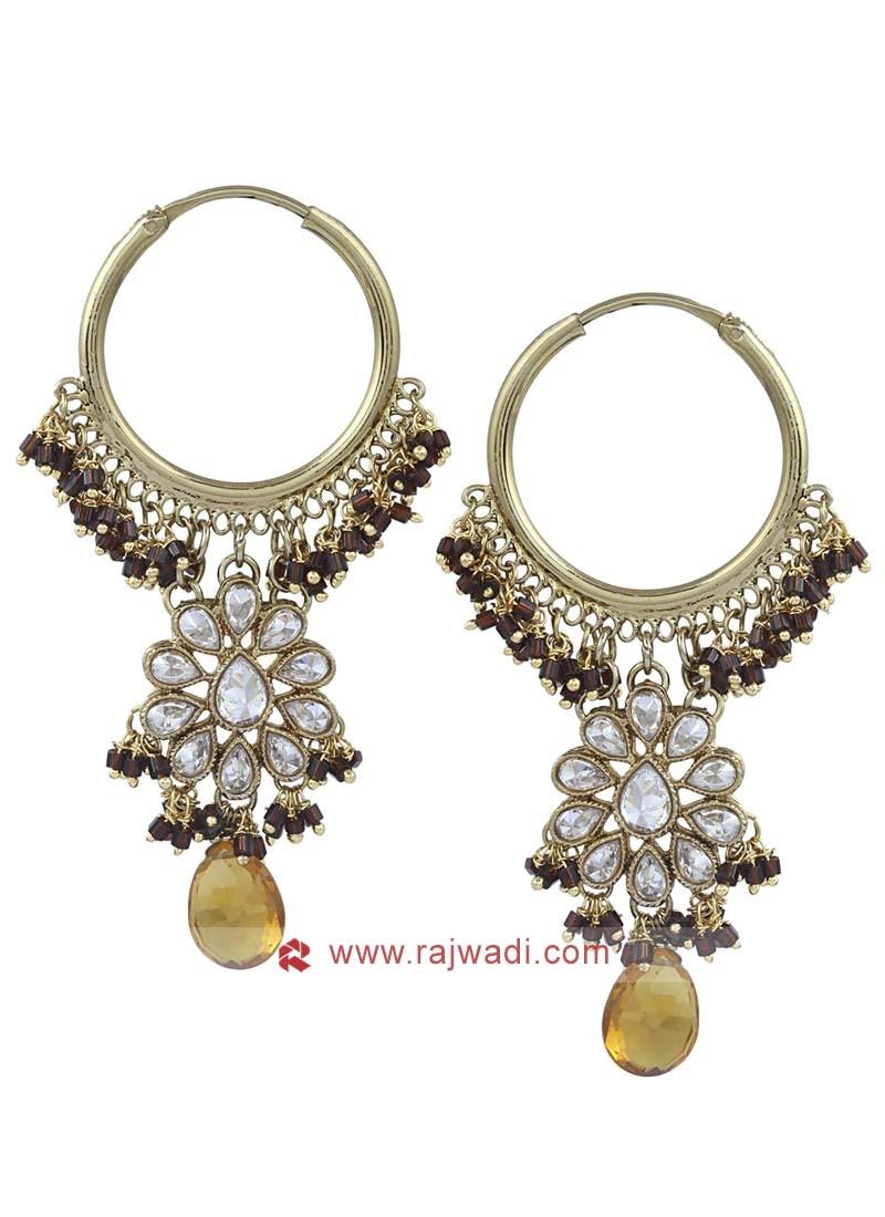 Designer Gold Toned Hoop Earrings