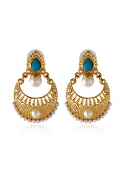 Designer Golden and Blue Earring