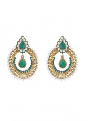Designer Golden and Green Dangler Earring