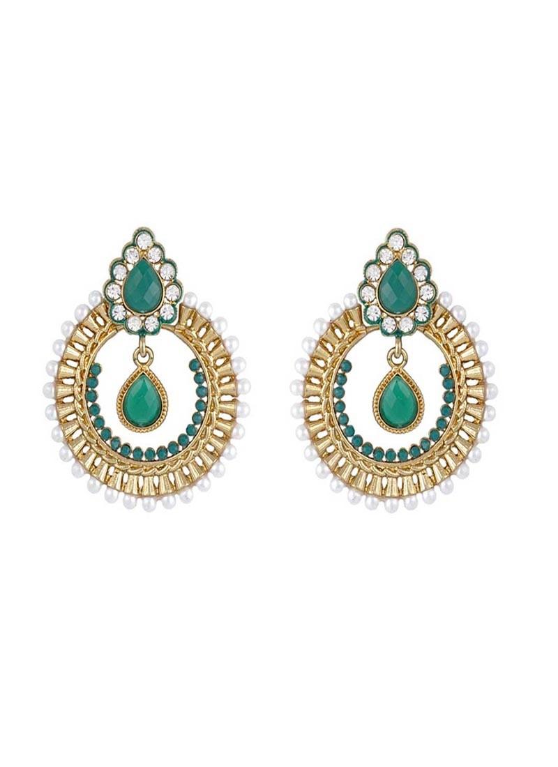Designer Golden and Green Dangler Earring