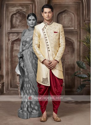 Designer Golden And Maroon Sherwani